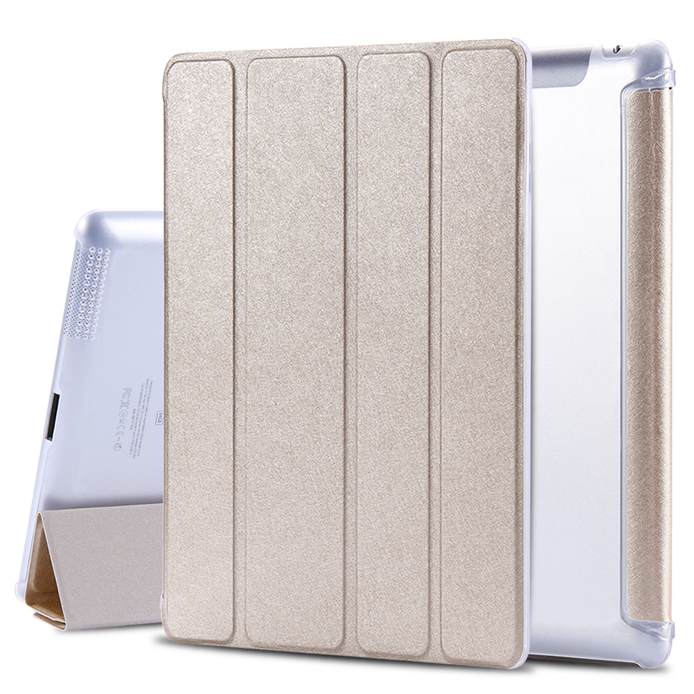 FLOVEME Elegant Silk Skin Flip Leather 4 Folding Stand Tablets PC Case For Apple iPad 2 3 4 Clear PC Back Full Protective Cover
