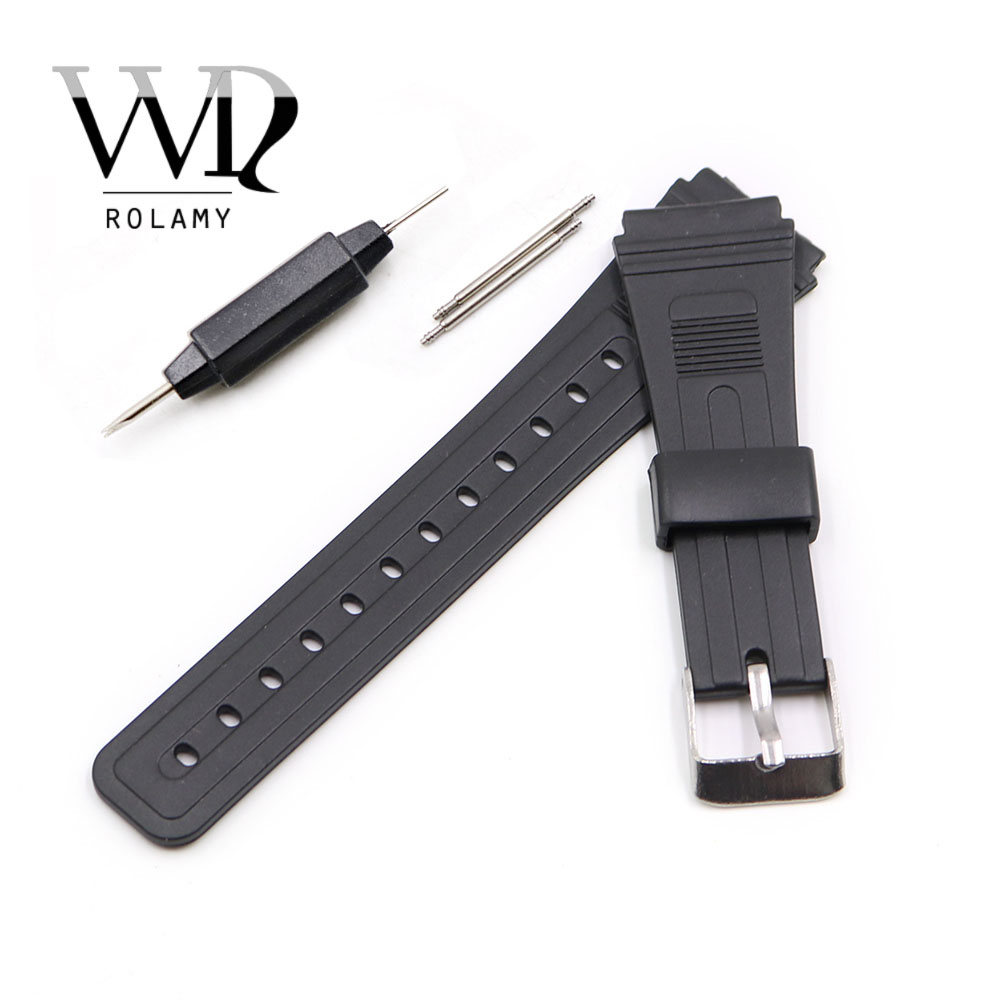 Rolamy 20mm Watch Band Strap Silicone Rubber Straight End Men Lady Black Replacement Loop With Silver Polished Pin Buckle