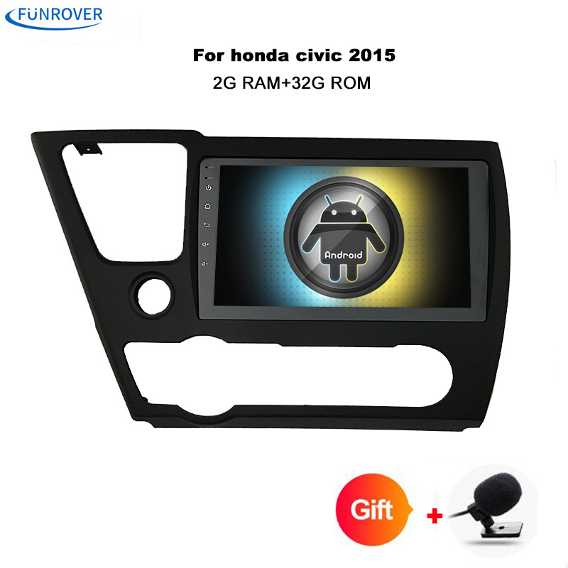 Funrover 9 Android 8.0 Car radio full touch screen gps navi for Honda Civic EX/LX/DX 2GB ...