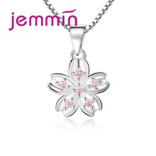 Special Charm Design Fashion Temperament Korean 925 Silver Flower Necklace With Box Chain For Women Best Gift(China)