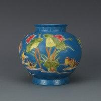 Antique Chinese Qing Dynasty Small Ceramic Vase fahua colour Mandarin Duck Blue Porcelain Decoration Vase