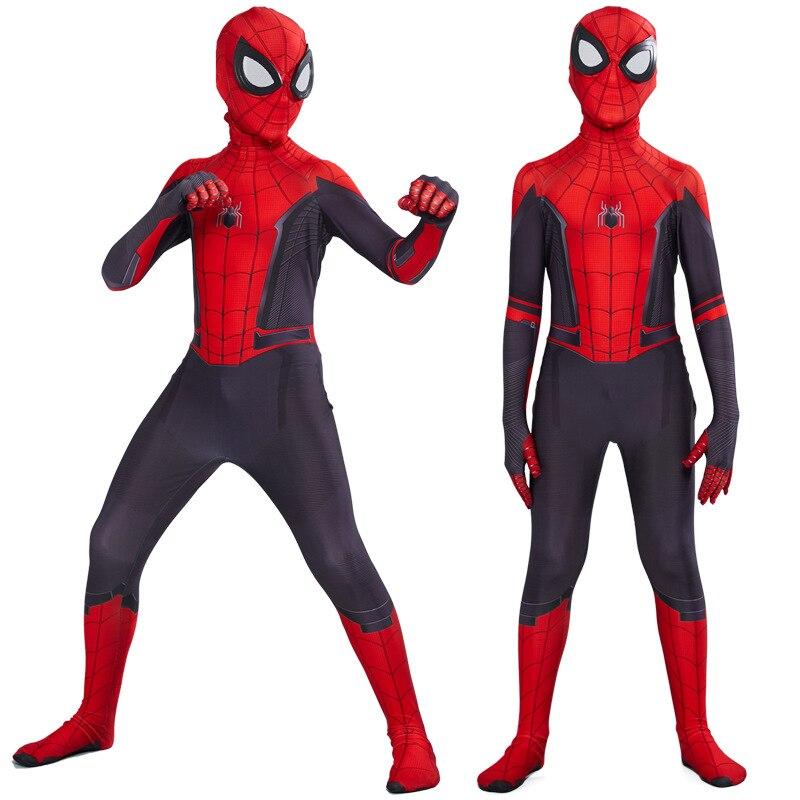 2019 Kids Spider Man Far From Home Peter Parker Cosplay Costume Zentai Spiderman Superhero Bodysuit Suit Jumpsuits