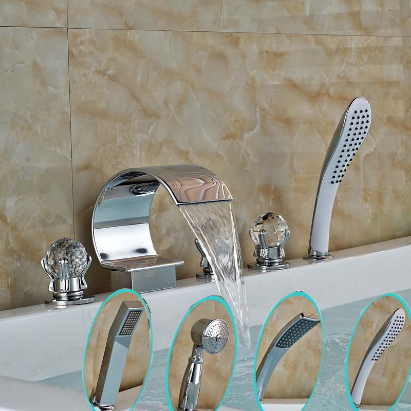 Polished Chrome Widespread Waterfall Bathtub Faucet Deck Mount 5pcs Bathroom Tub Mixer Taps + Handshower