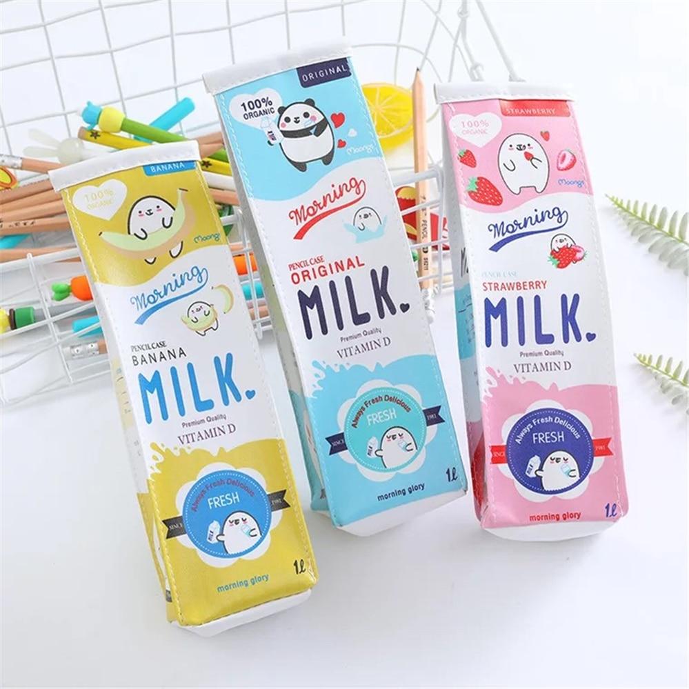 Cartoon Cute Milk Pencil Bag Female Simple Large Capacity Stationery Bag Creative Student Portable Stationery Bag Pencil Bag