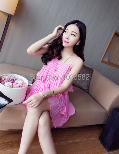 2014 New Hot Fashion Women Spaghetti Dress Glamous Cute Girl Pleated Summer Dress Slim Sexy Dress In Dresses From Womens Clothing Accessories On