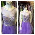 2016 Glitter Beaded Tulle Puffy Mini Purple Homecoming Dresses For Short Girls Sexy Sheer 8th Grade Prom Dresses Jewels 2017