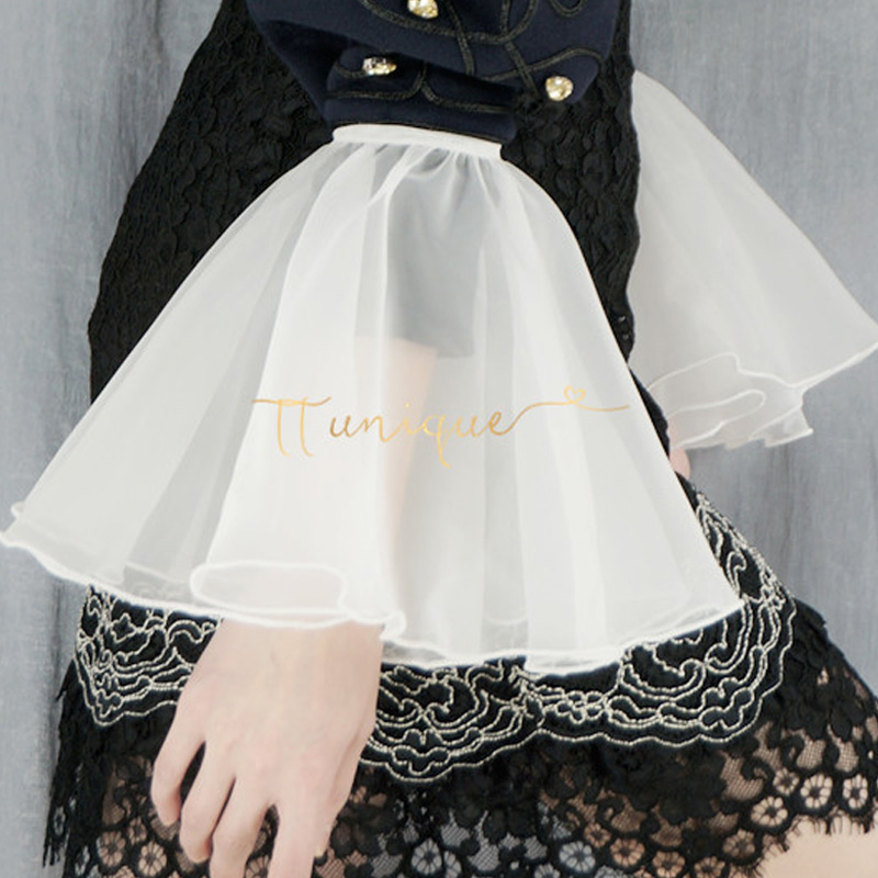 False Temperament Chiffon Crest Collar Lace Silky Transparent White European Yarn Large Exaggerated Trumpet Sleeves Famous Lady