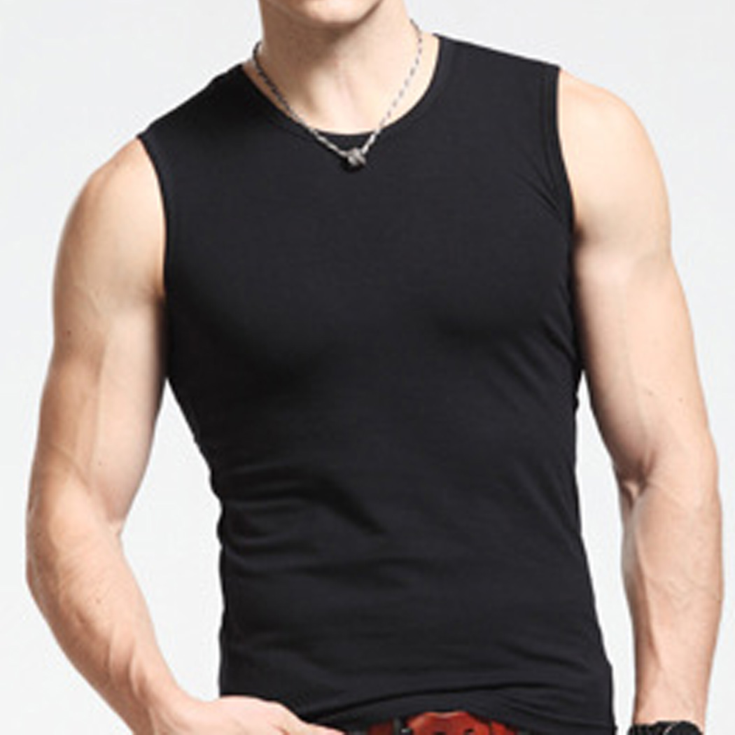 Men Cotton Sleeveless O Neck Clothing Bodybuilding Vest Fitness Apparel Undershirt Plus Size