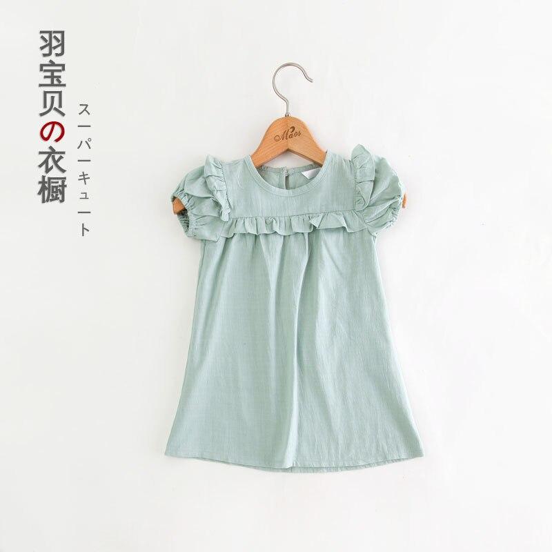 2016 Summer Lovely Cute Korean Version Cotton Linen Blend Girls Dress For Kids Children Sweet Cute Child Dress