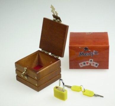 Free Shipping Mini Locked Box (Miracle Box) Magic Tricks Prediction Wooden Box Close Up Magic Trick Accessory Comedy
