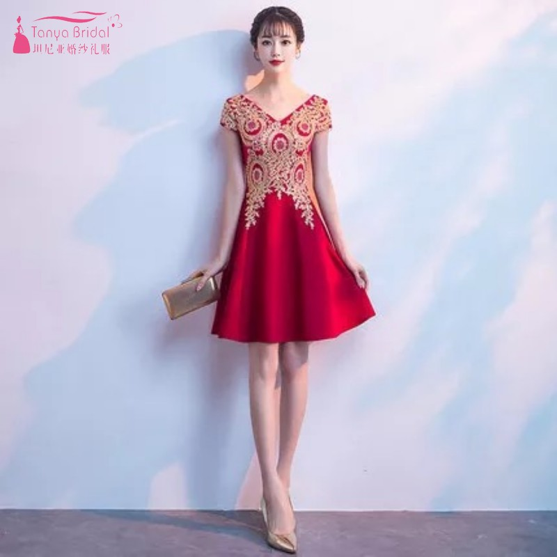 Red Evening Dress With Gold Lace A Line V Neck Short Sleeves Tea Length Formal Prom Gown Birthday Dreses DQG358