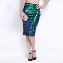 MUXU green sequin glitter skirts womens Pencil Skirt Sexy Thin High Waist Half-body fashion woman clothes free shiping