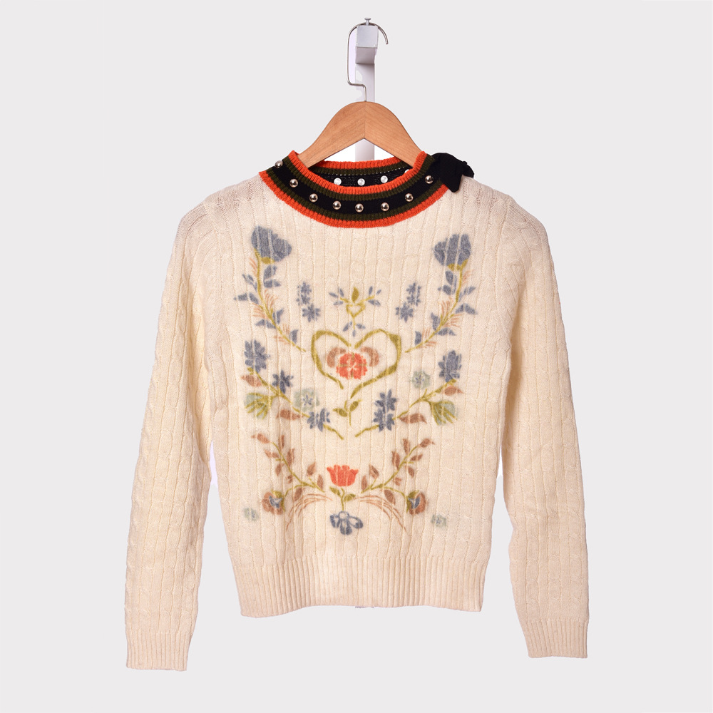 High quality floral print knitted pullovers tops 2019 Autumn winter women 39 s rivets sweaters A583 in Pullovers from Women 39 s Clothing