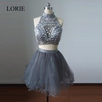Real Picture Heavy Beaded Short Two Pieces Prom Dresses 2014 Grey Robe Be Coctail Junior Homecoming