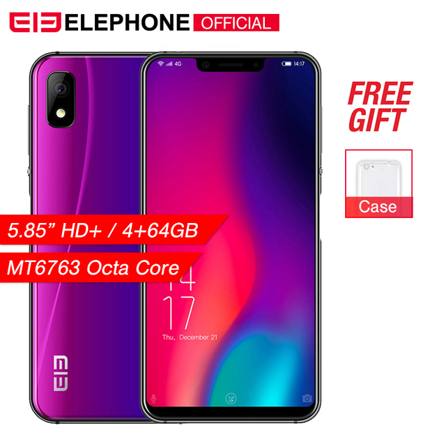 Cargadores de coche Elephone A4 Pro 5,85 pulgadas teléfono móvil Android 8,1 MT6763 Octa Core HD + U-primera pantalla 4 GB RAM 64 GB ROM 16MP 4G LTE Smartphone