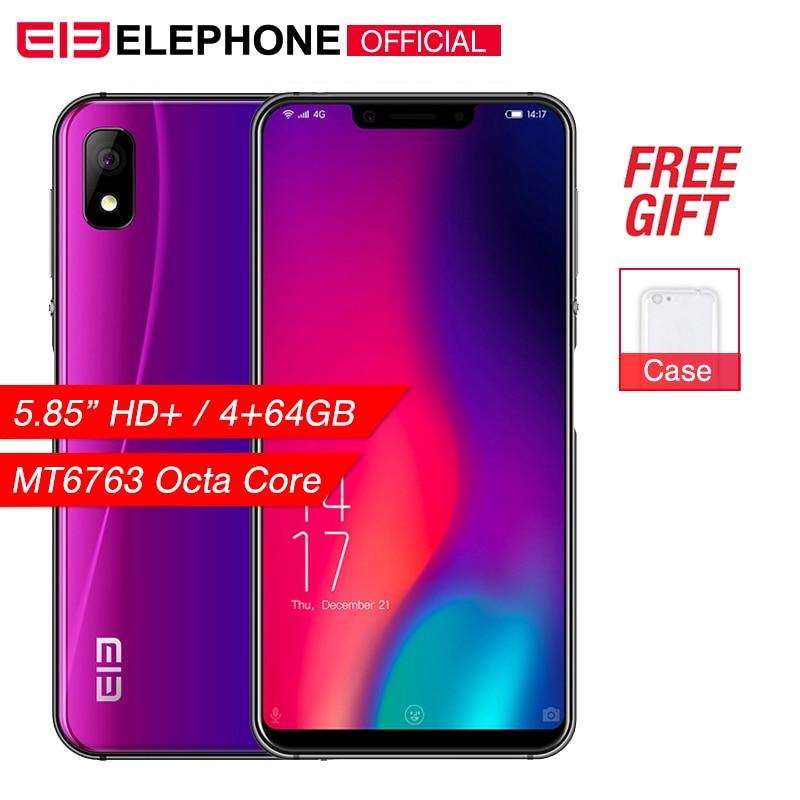 Téléphone portable Elephone A4 Pro 4 GB RAM 64 GB ROM Android 8.1 MT6763 Octa Core 5.85 pouces HD + u-cran écran 16MP 4G LTE Smartphone