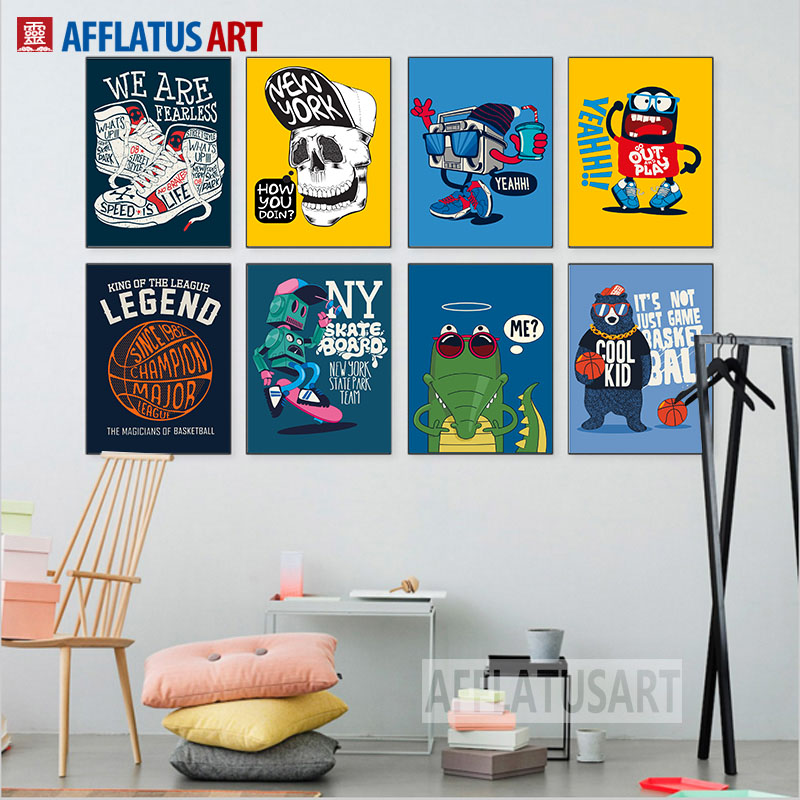 Graffiti Bedroom Art Paint Colors For Bedroom Youth Bedroom Sets Simple Little Boy Bedroom Ideas: Hip-hop Robot Creative Graffiti Wall Art Canvas Painting