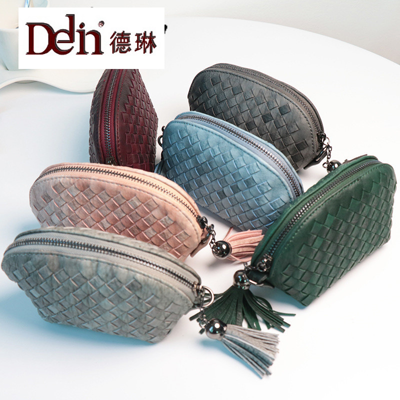 DELIN The new shell wallet Ms han edition tassel zipper hand woven belts for hand hand