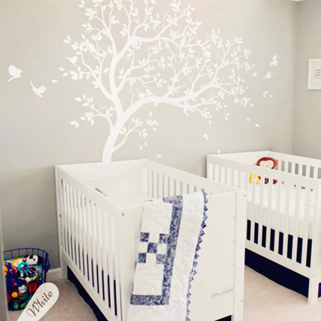 White Tree Decals Huge Nursery Tree With Birds Sticker   Removable Vinyl Wall  Art Home Decor Part 65