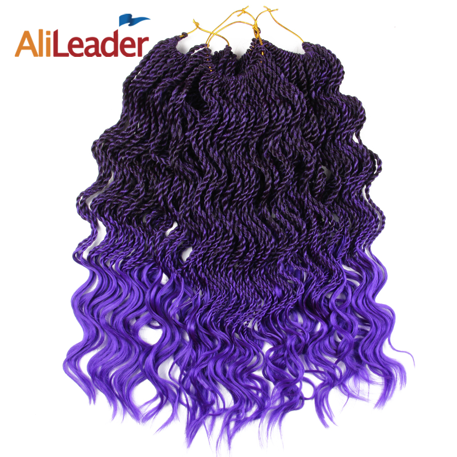 Alileader Synthétique Tressage Extension de Cheveux Ombre Couleur Pourpre 14 Pouces Crochet Tresses Bouclés Twist Sénégalaise 35 Racines/Pack