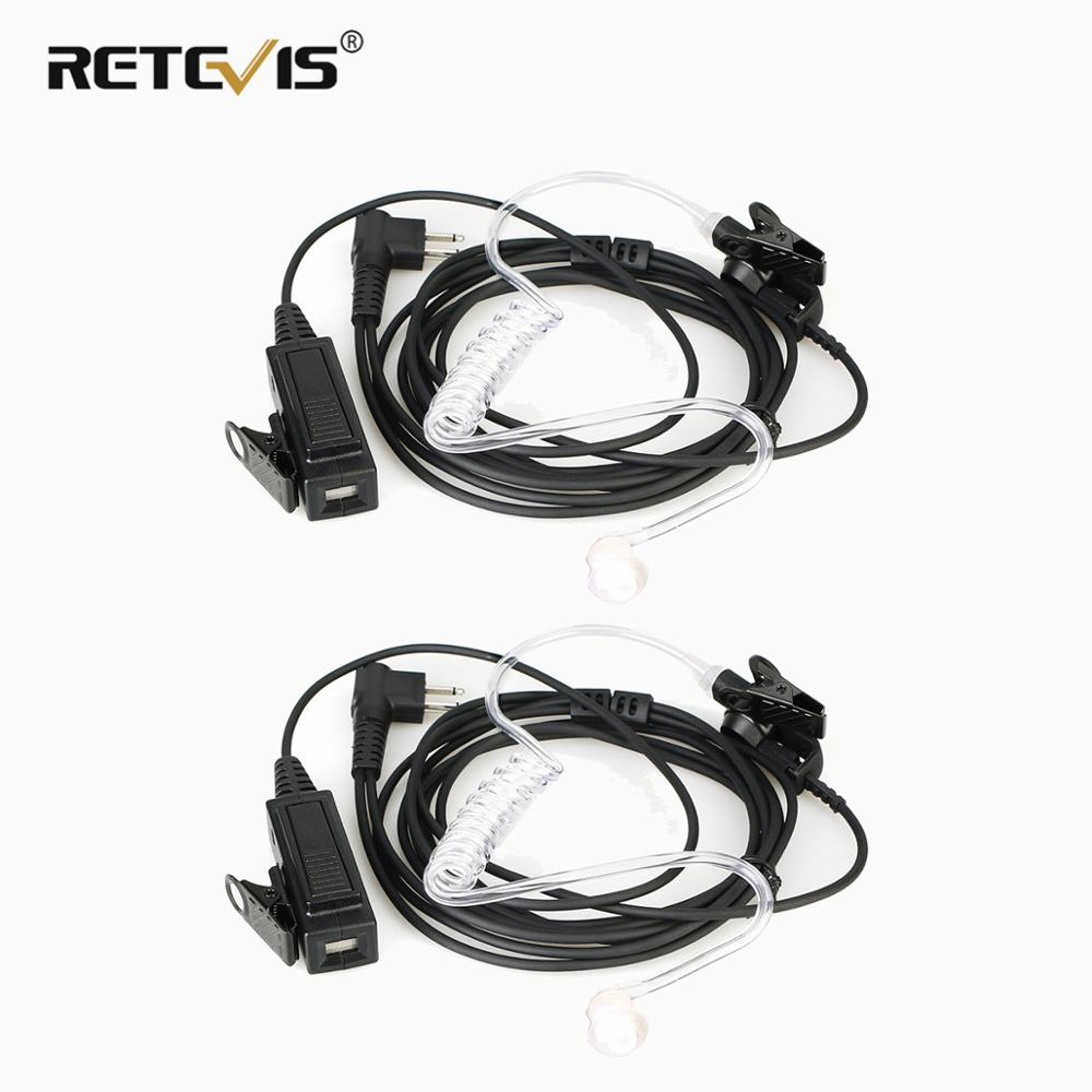 2pcs RETEVIS EA100M Walkie Talkie Headset 2Pin M Plug MIC Covert Acoustic Tube Earpiece For Motorola CP040 EP450 GP300 PRO1150