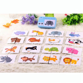 цена Baby Kids Cognition Puzzle Toys Toddler Matching Game Cognitive Card Vehicl/Fruit/Animal/Life Set Pair Puzzle in Iron Box онлайн в 2017 году