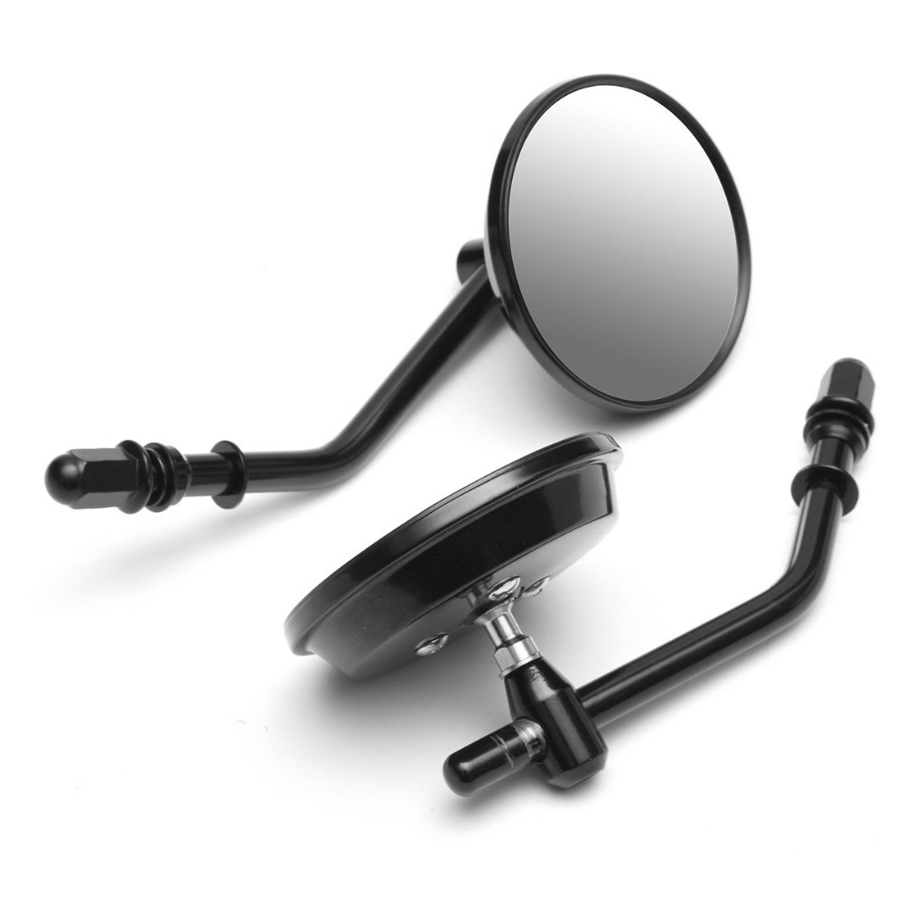 """Image 2 - 8mm Black/Chrome Motorcycle Mirror Short Stem 3""""Round Rearview Mirror For Harley Dyna Bobber Chopper Old School 1982 2018 UpSide Mirrors & Accessories   -"""