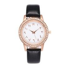Ladies Leather Quartz Watch Högkvalitativa Arabiska Nummer Rhinestone Klockor Romantiska Kvinnor Vattentät Armbandsur Klockor Vrouwen