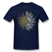 Printing Short Sleeve Sun and Moon Men's t-shirt Cheap 100 % Cotton t shirt for Men
