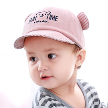 Baby Cap Fashion Hat Baseball Spring Summer Breathable Adjustable Velcro Sweet Bear Ear Lattice Kids Clothing
