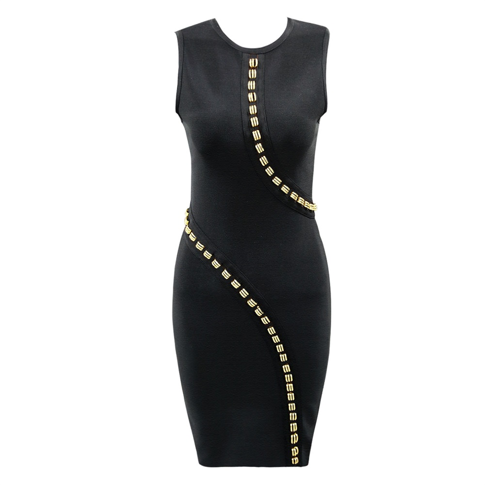 <font><b>2018</b></font> New Women <font><b>Sexy</b></font> Celebrity Elastic Bandage Black Rivet <font><b>Dress</b></font> Lady <font><b>Luxury</b></font> Runway Party Gowns Bodycon image