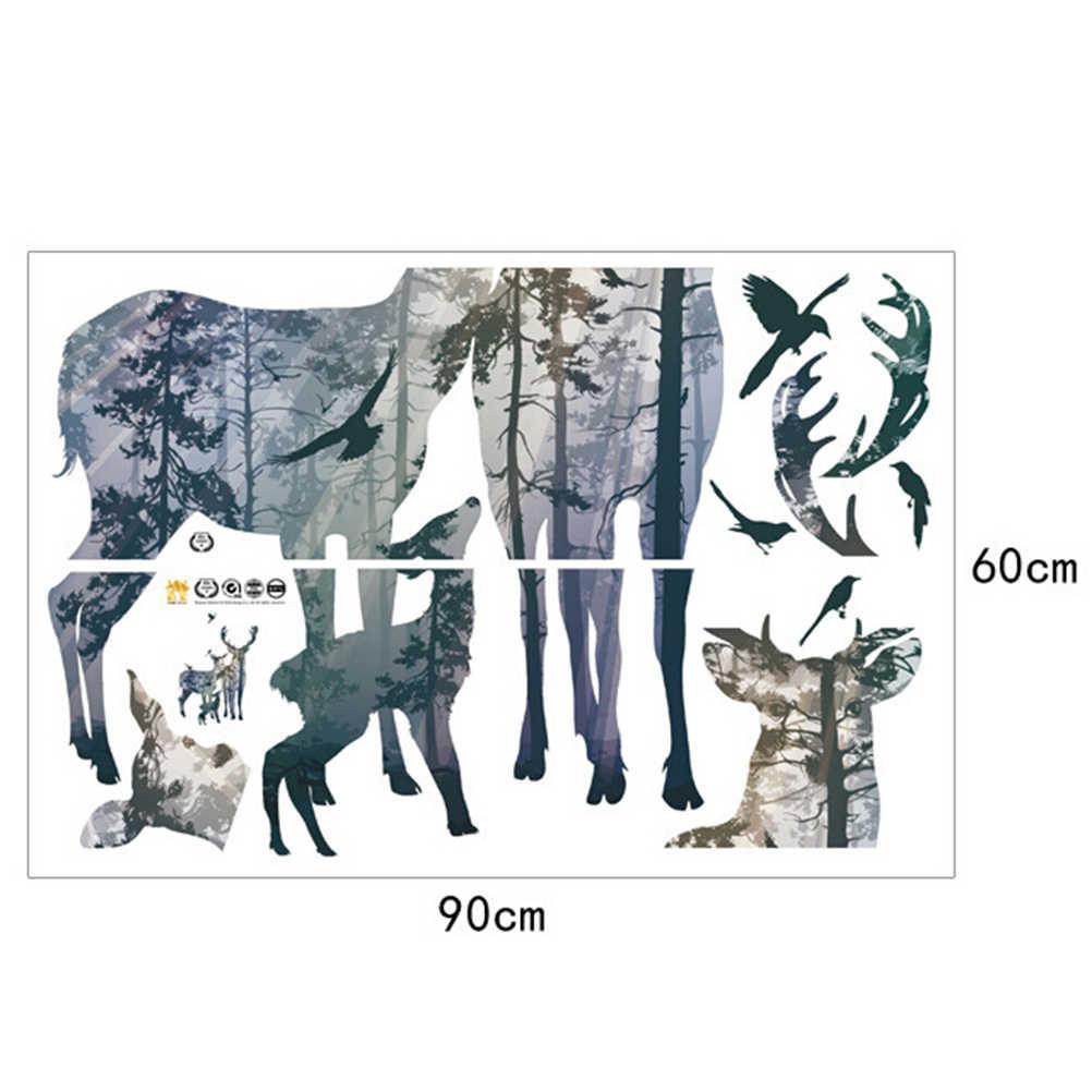 Европейский стиль DIY Лесной Олень виниловые художественные настенные наклейки съемные настенные стикеры украшения для учебы гостиной детей