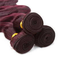 Pre-Colored #99J Malaysian Body Wave  Bundles 100% Human Hair  Extensions  Remy Hair 3 Bundles