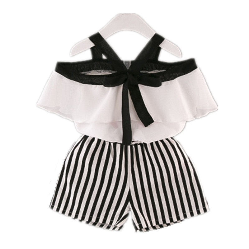 2019 Spring And Summer time Ladies Garments Set Kids's Clothes Trend Woman Shirt High+Striped Shorts Fits Children Garments 2pcs Clothes Units, Low-cost Clothes Units, 2019 Spring And Summer time...
