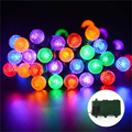 Big bargain lederTEK Colorful Bright Battery Operated Outdoor Globe Led String Lights 8 Mode Automatic Timer and Indicator Light