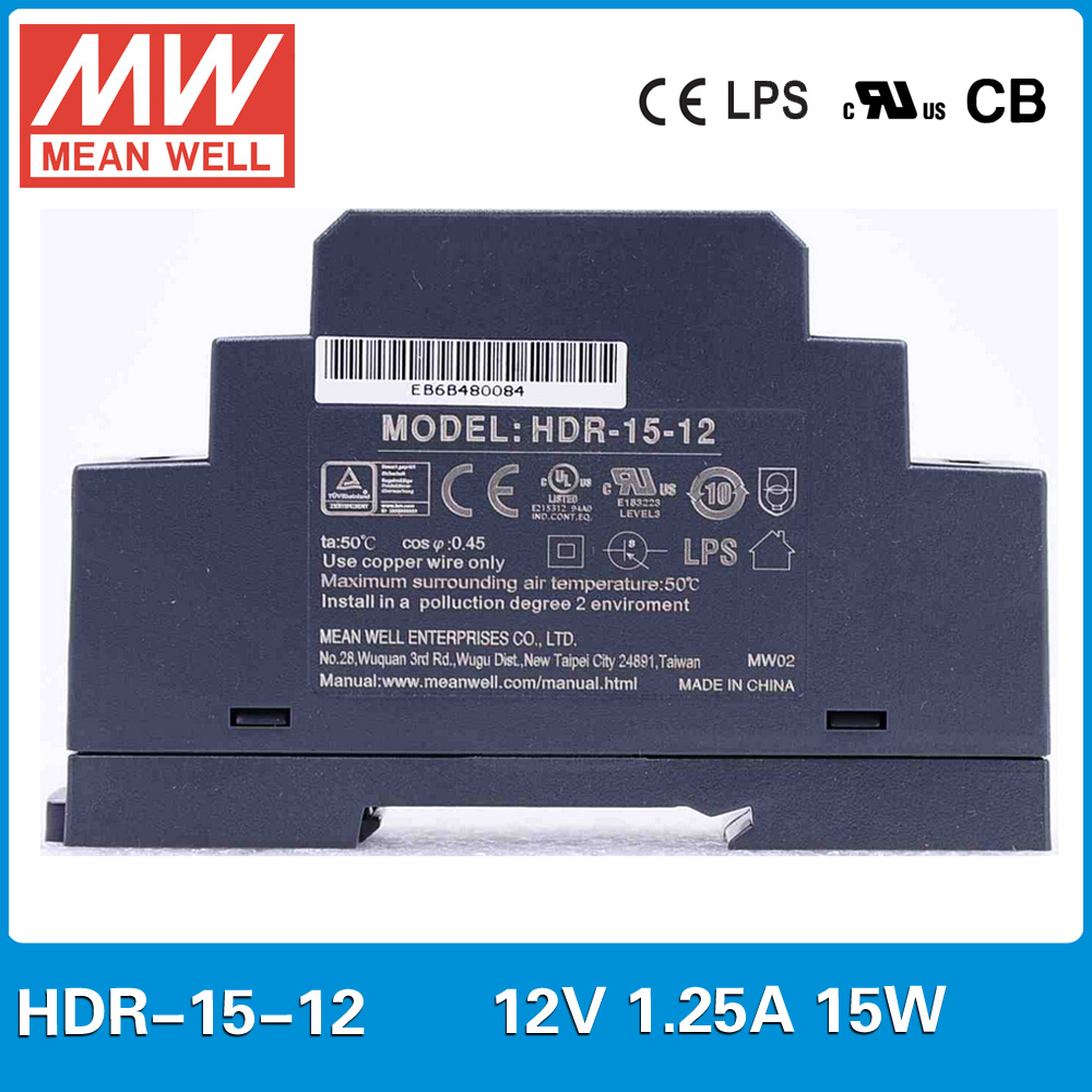 Original MEAN WELL HDR-15-12 1.25A 12V 15W meanwell 15W ultra slim step shape DIN Rail Power Supply HDR-15