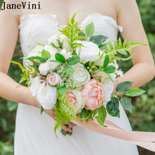 JaneVini New Western Wedding Flowers Bridal Bouquets Romantic Ivory Pink Flowers Artificial Silk Roses Bride Wedding Accessories(China)