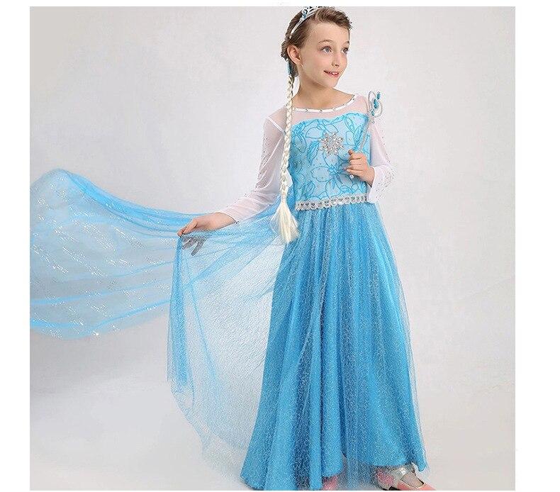 HTB1yaBSmSfD8KJjSszhq6zIJFXaT 2019 Elsa Dresses For Girls Princess Anna Elsa Costumes Party Cosplay Elza Vestidos Hair Accessory Set Children Girls Clothing