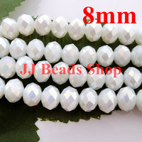 7 11USD 360pcs 8mm AAA Top Quality Crystal Glass 5040 Rondelle Beads White Alabaster AB Colour