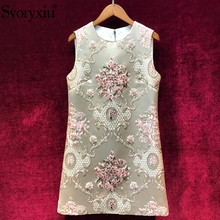 Svoryxiu Runway luxury Summer Party A Line Tank Dress Women's Vintage Flower Print Jacquard Beading Short Dresses Vestdios 2019