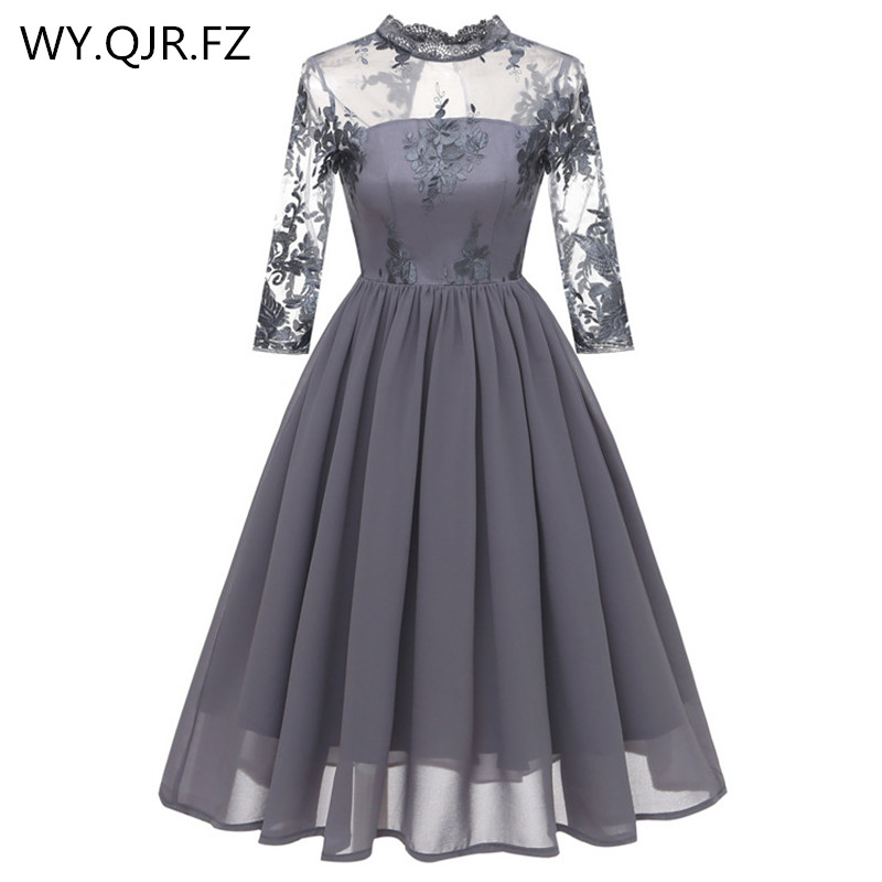 CD1661H#Lace Embroidery Chiffon Short Pleated Bridesmaid Dresses Gray Wedding Party Dress Gown Prom Wholesale Fashion Clothes