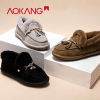 AOKANG 2018 New Arrival Winter Women Fur Loafers Plush Slip on Shoes Women Flats Bow Loafer Faux Fur Boat Shoes Warm Ladies Shoe