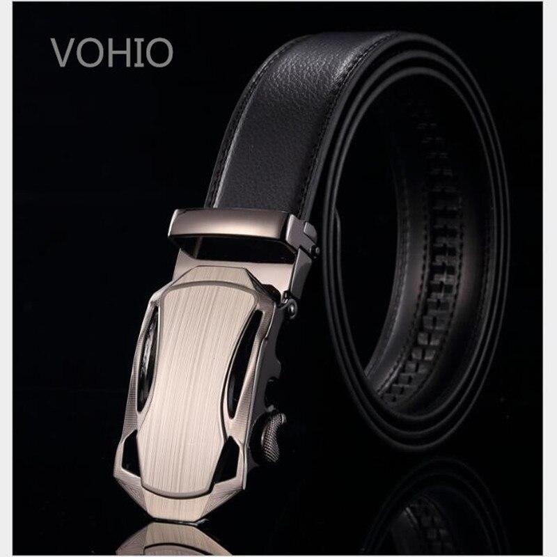 VOHIO 2018 mode hommes ceinture noir marron 3.5 cm large automatique boucle ceintures loisirs affaires en cuir ceinture longue 115 120 130 cm