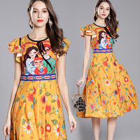 Italy Milan Paris Fashion Show Luxury Brand Dress 2018 Summer Dress Women Beautiful Ruffles Sleeve Design Cartoon Printed Dress