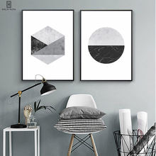 Modern Minimalist Balck Gray Form Poster Semi-Circle Geometric Hexagon HD Unframed Decorative Paintings For Home Decor