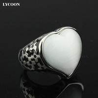 Fashion woman opal jewelry Ring High quality 316L stainless steel with Black resin and White cat eye stone rings in heart design