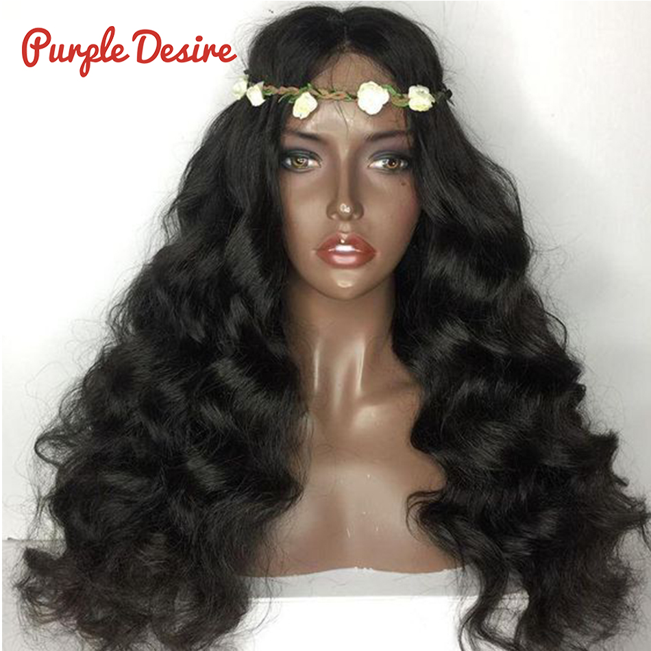 Body-Wave Purple Full-Lace Wigs Hair 100%Human-Hair Brazilian with Natural-Black