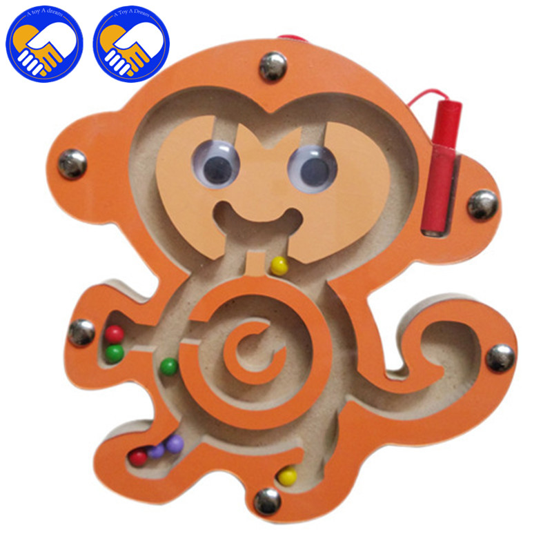 A TOY A DREAM Maze Kids Toy Wooden Cartoon Animal Magnetic Maze Toys for Children Series Intellectual Games Small Pen Puzzles