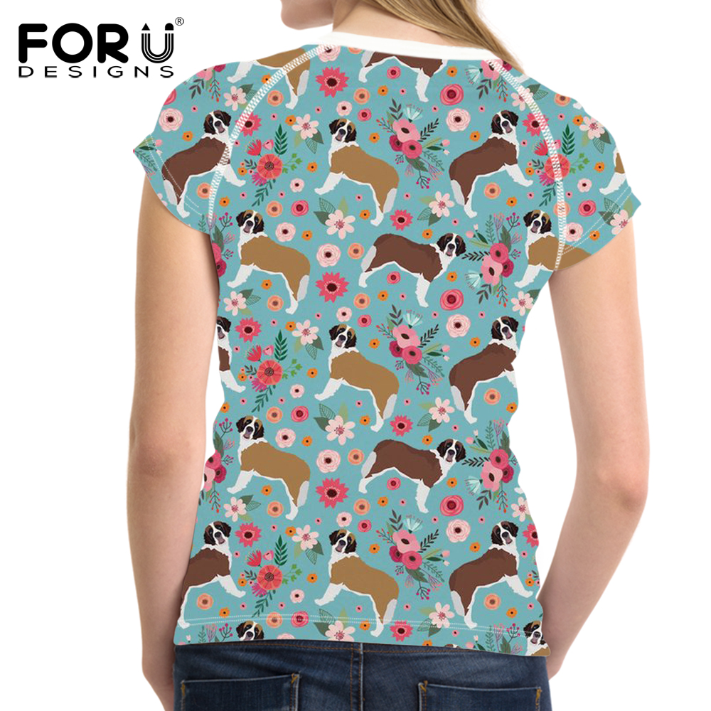FOURDEIGNS St. Bernard Flower 2018 Fashion T-shirts Women T Shirt Tees Clothing Female Tumblr Blusa Clothes 3D Printing Clothes
