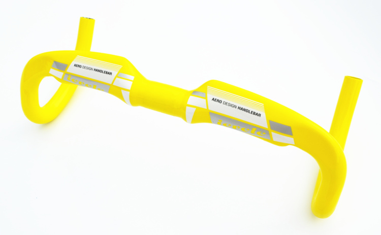 Guidon courbé de vélo de route en fibre de carbone ievele/guidon plié de vélo de course en carbone 31.8*400/420/440mm jaune brillant